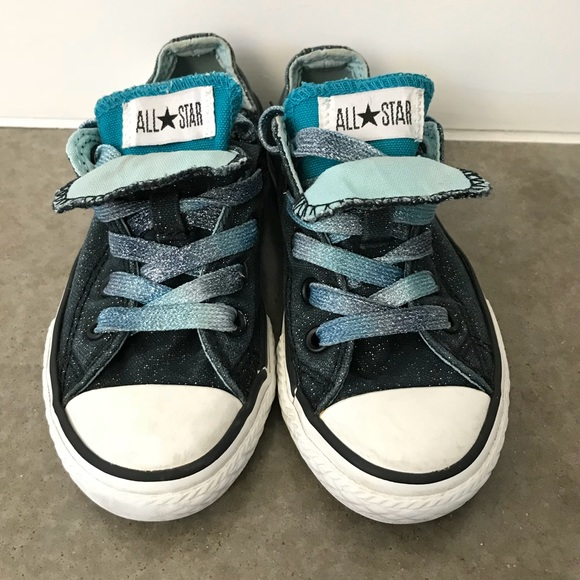 0c30f379babc47 Converse Other - Black Turquoise Glitter double tongue Converse 11